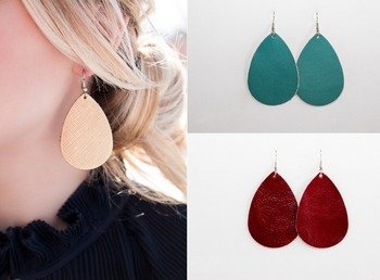 2017 New Arrival Leather Drop Earrings