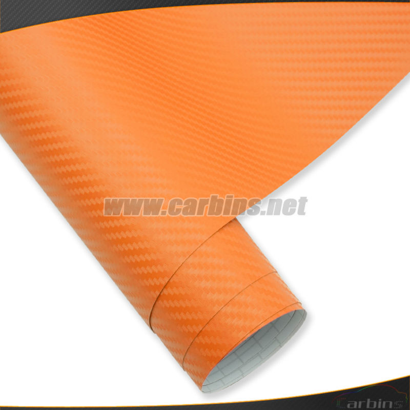 Styling orange 3D carbon fiber car vinyl wrap roll film , bubble free car body adhesive vinyl sticker printed 1.52*30m