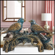 Hot Resin Bird Craft With Blue Red Color Sculpture For home decoration