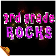 Third Grade Rocks Glitter Rhinestone Iron On Transfers Wholesale