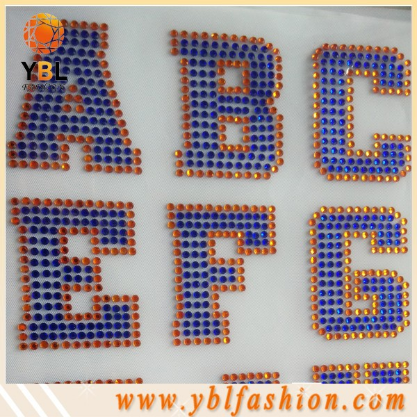 Korean Round Cobalt Rhinestone Alphabet Transfer Wholesale
