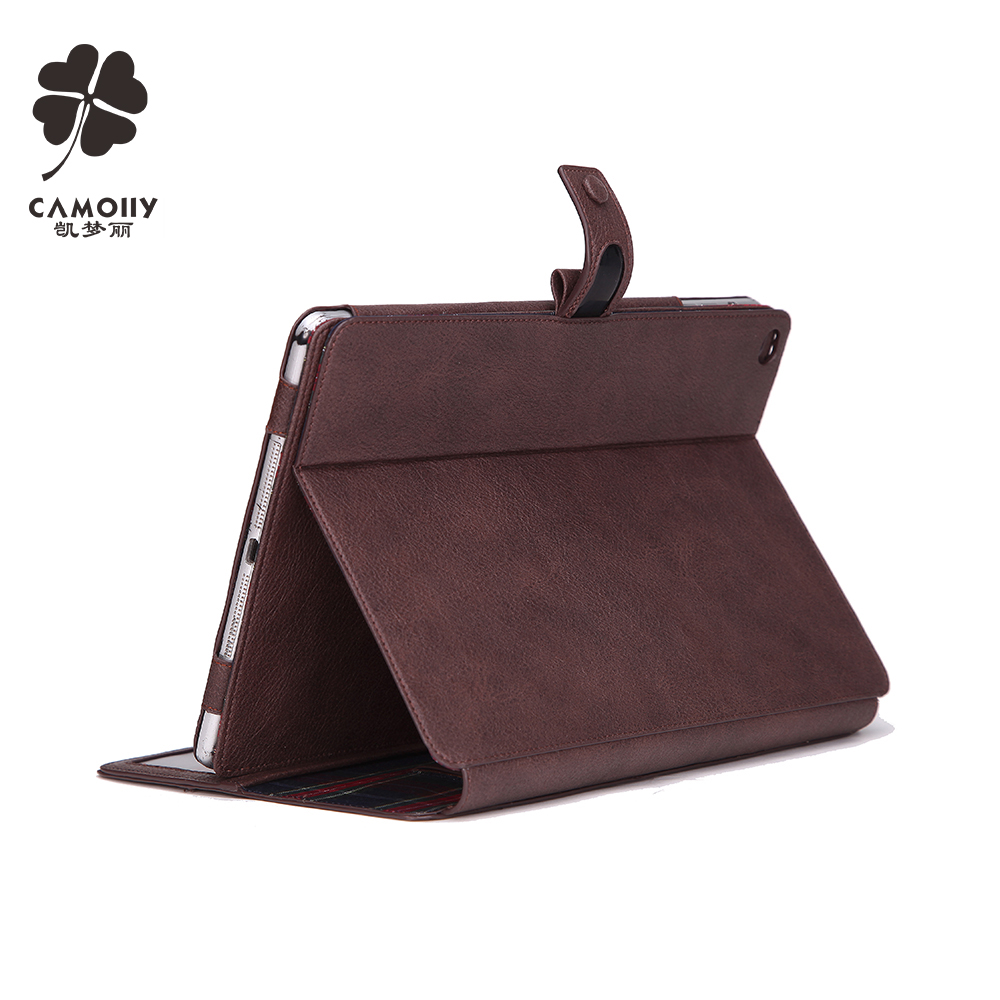 china supplier wholesale classic style genuine leather tablet case for ipad air 1 / 2 / 3 pro with card holders wallet and stand