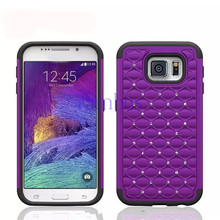Hybrid Diamond Bling Bling Cover Hard + Soft Protective Case Mobile Phone Skin for Samsung Galaxy S6 Edge