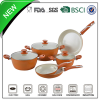 9pcs orange aluminum non-stick white enamel camping cookware