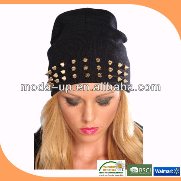 2014 Fashion women warm winter knitted beanie hat with rivet