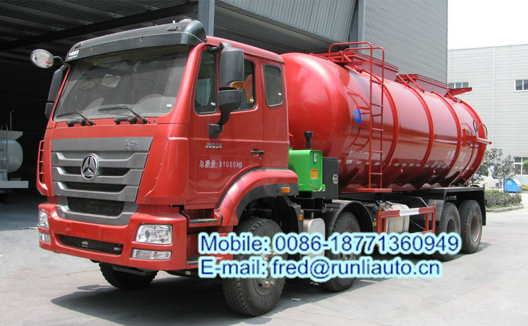 Sinotruck 8*4 20.4cbm dried sewage sludge transportation truck with self discharging fuction