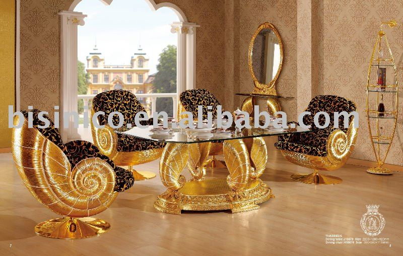 New Item Luxury Antique Gold Plated New Style Wooden Dining Room
