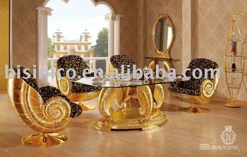 NEW ITEM- Luxury antique gold plated new style wooden dining room furniture set(B6048)