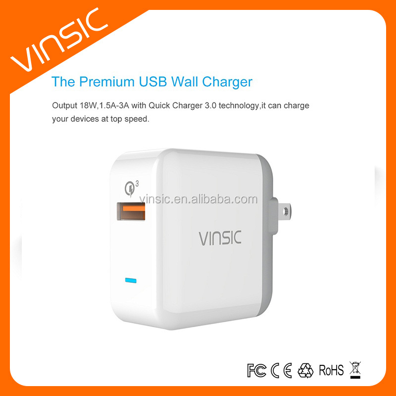 2016 Hot Selling Vinsic Brand quick charger 3.0 US Standard Wall Charger