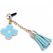 Mobile Phone Accessories Metal Glod Plated earphone jack dust cap plug with Flower and Leather Tassels