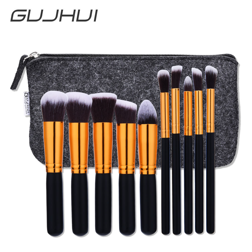GUJHUI outline brush 10pcs professional soft cosmetics make-up brush kabuki make-up brush black wood <strong>handle</strong> gold mouth
