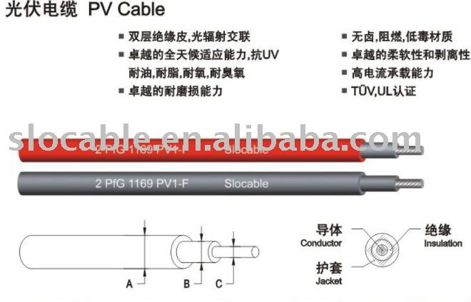 100% copper ,Silver plated ,TUV certified solar cable