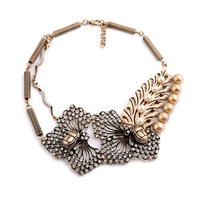 2015 European vintage Flower Statement Collar Fashion Pearl Necklace