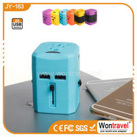 JY-163 Universal travel adapter, AC wall charger with 2.5A USB charing port