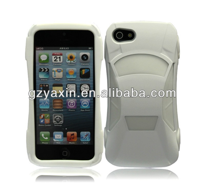 Creative Car Design For Iphone 5 Cases,White Mobile Phone Car Sports Case For Iphone5,Double Case For Iphone 5