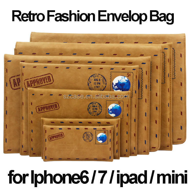 Luxury Retro Fashion Envelope Bag case for iphone 6 , Pu leather Phone6 for iphone 6 plus case for ipad