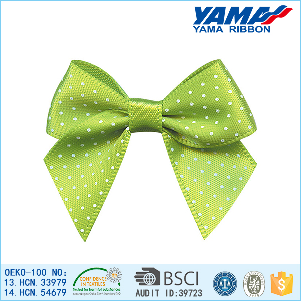 Vivid green dot decoration polyester bow make hair accessories for children