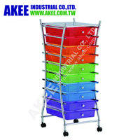Colorful mobile storage cart with wheel home or office storage
