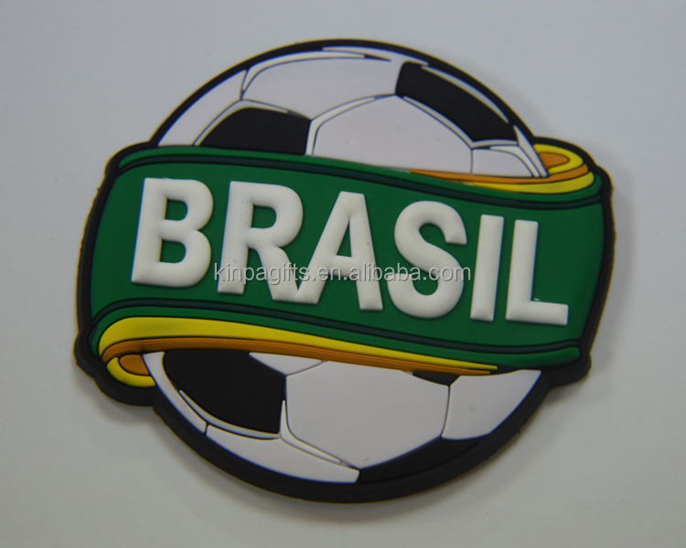 Promotional Souvenir Rubber PVC Brasil Football Fridge Magnet For Club