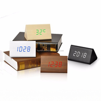 Decorative Handmade Mini digital LED Wooden Digital Alarm Table Clock Antique Wooden Desk ClocK With Sound Controlled
