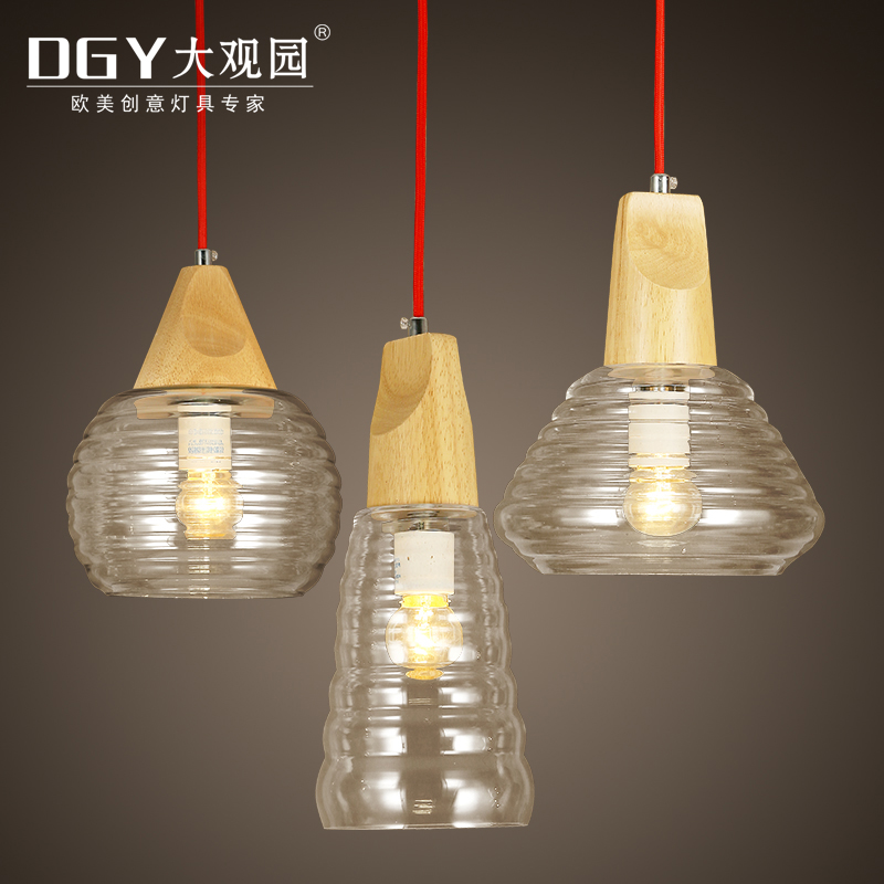 gourd shape clear glass wood socket modern pendant lights nordic lamps E27