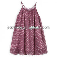 Purple loose kids strapless dresses with little print stars
