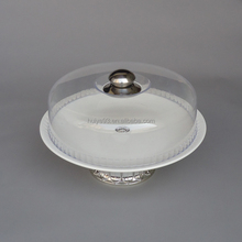 12 inch ceramic cake stand with plastic dome cover