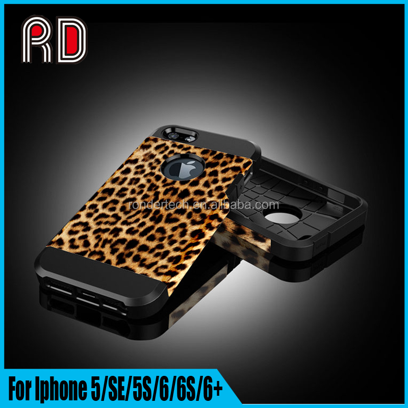 2 IN 1 Factory Supply Fashion Vivid Simulation Leopard Pattern Back Cover Case for Iphone 5/SE/5S/for Iphone 6/6s/6+ Bumper Case