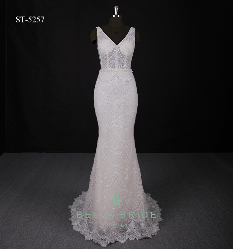Champagne modern wedding dresses bridal gown heavy beaded bride dress couture wedding dresses mermaid wedding gowns