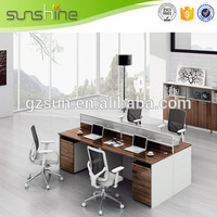 Guangzhou Hot Sale Movable Partition Classic Wooden Table Laminated Melamine Office Desk With Mobile Pedestal