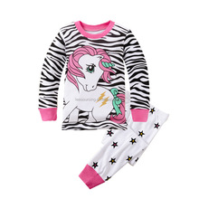 Wholesale Cute Baby Girls Cartoon Printed Pajamas Children Clothes Girls Set Home Wear Set