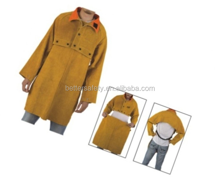 yellow Leather Welding Apron With Cape Sleeves