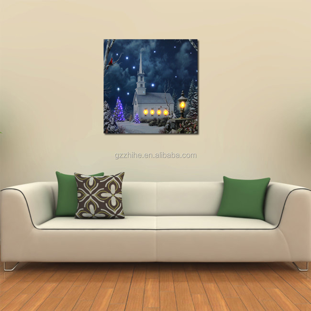 christmas lighted wall <strong>art</strong> for home decor winter house image led canvas <strong>art</strong> light up paint