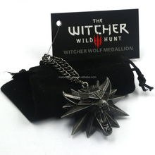 Free Shipping New Arrival Melone Retro The Witcher 3 Necklace With Red Eye Wolf Head Pendant