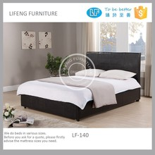 Double Queen King upholstered modern leather bed, with a big drawer in the end, LF-140