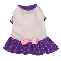 Blueberry Pet Polo Shirt Tshirt Dress Orchid & Grey Bow Dog Dresses pet clothing