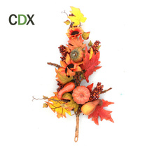 Plastic Maple Fall Leaf Pick with Decorative Pumpkin carfts artificial autumn leaves for Thanks giving twig decorative