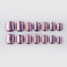 OEM Environmental Friendly safety nail tips hot sell gel polish good fake nails with glitter