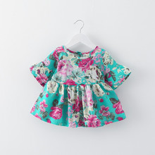 2017 New Style Baby Girls Party Printed Floral Dress Design