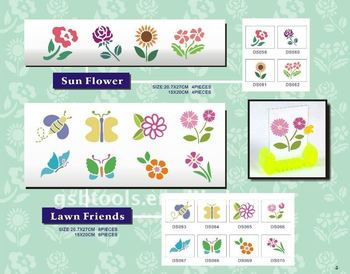 flower & butterfly stencil DS-