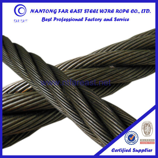 16mm-6*29Fi+IWRC steel Ungalvanized line contacted steel wire rope/wiring cable/crane belt rope