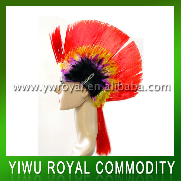 Promotional Synthetic Cockscomb Party Carnival Fans Wigs