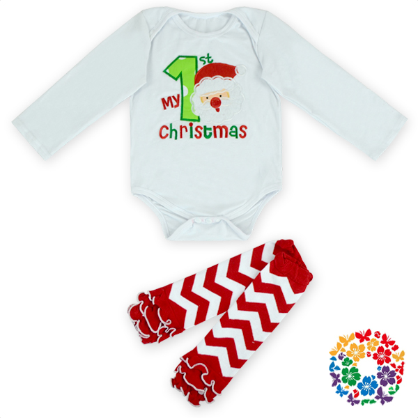 Newborn White Baby jumpsuit And Chevron Leg Warmer Set Baby Christmas Santa Romper Kids Christmas Long Sleeve Winter Clothes