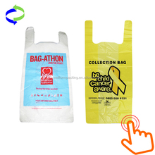 Custom Shopping Plastic Recyclable Vest Carrier Bag for Donation Collection