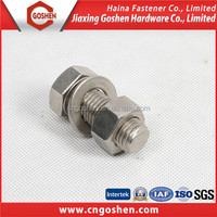 din931 stainless steel hex head bolt with washer and nut