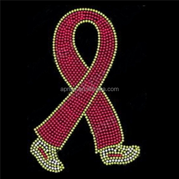Aprise - Breast Cancer Pink Ribbon Walking Legs Rhinestone Iron on Transfer motif