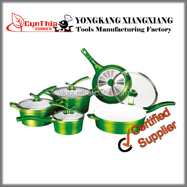 9pcs metallic luster green colour Die-casting Aluminium dinnerware sets with fine coated knob and lid