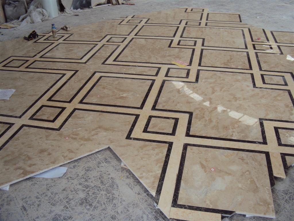 Product Marble Tiles Inlay : Cheap marble floor design waterjet medallion supplier for