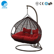 Patio rattan wicker double seat hanging egg swing chair with metal stand