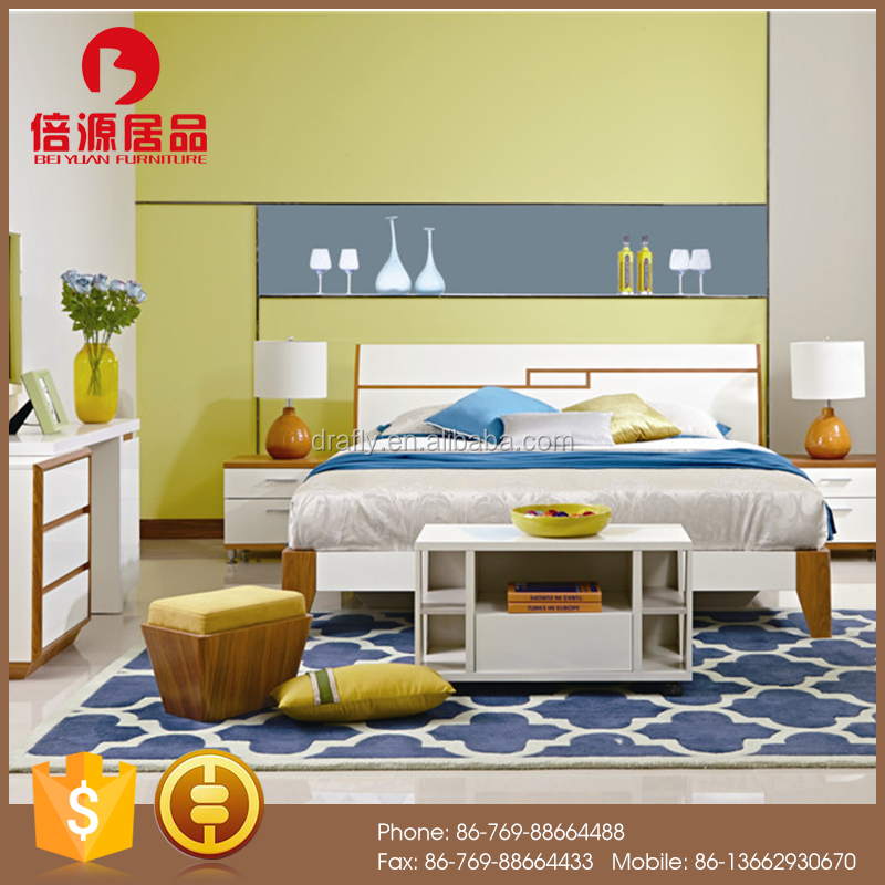 Latest design modern wooden teak and glossy white shining bedroom set furniture